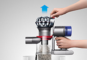 The Dyson Dyson V8 Absolute cordless vacuum cleaner. Double-edge cleaner head. Removes dirt and grime in a single action. It's the only vacuum cleaner to combine powerful suction and a wet wipe.