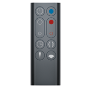 Black remote control for the Dyson Hot + Cool™ fan heater.