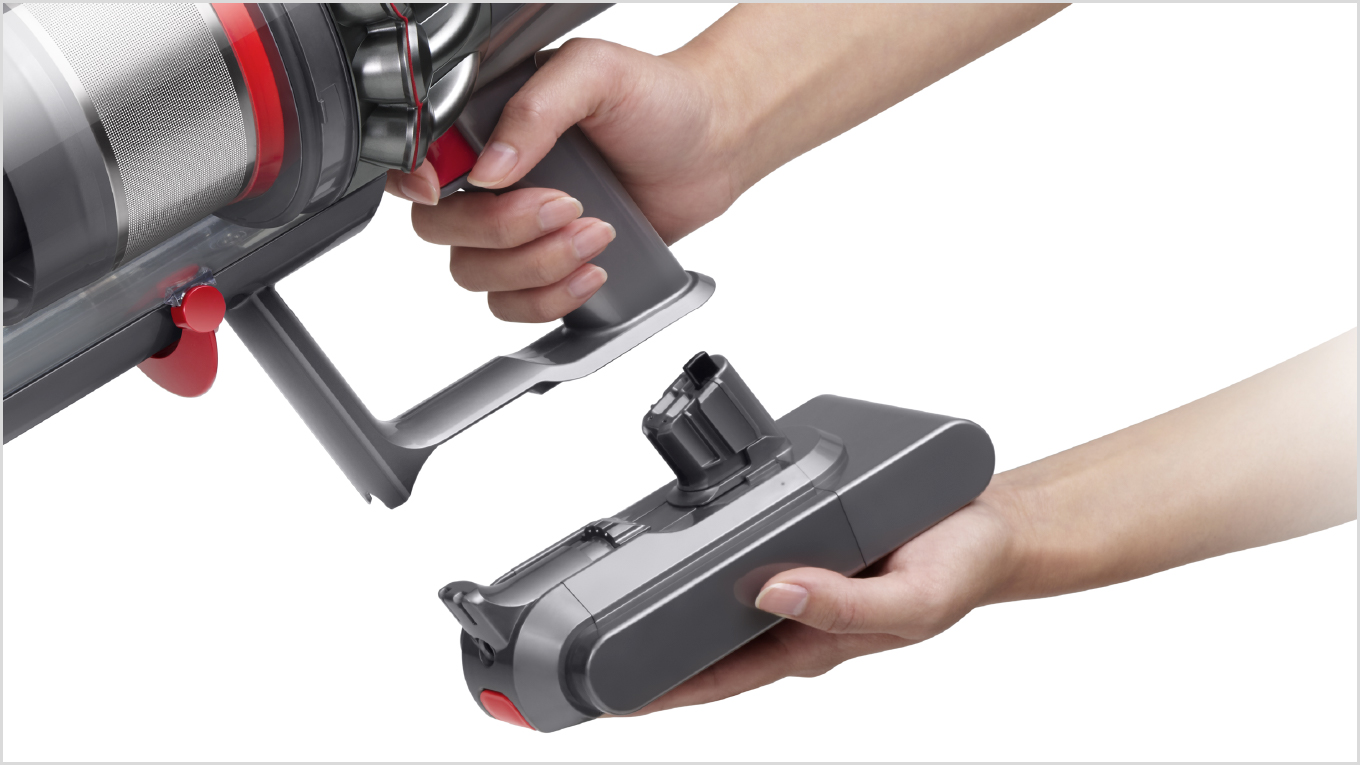 The Dyson V11 vacuum click-in battery